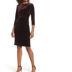 Eliza J- Maroon velvet cocktail dress